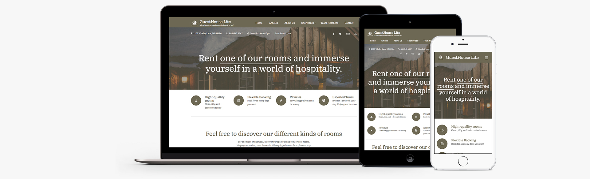 Guesthouse Lite: A free mobile-first Drupal 8 theme