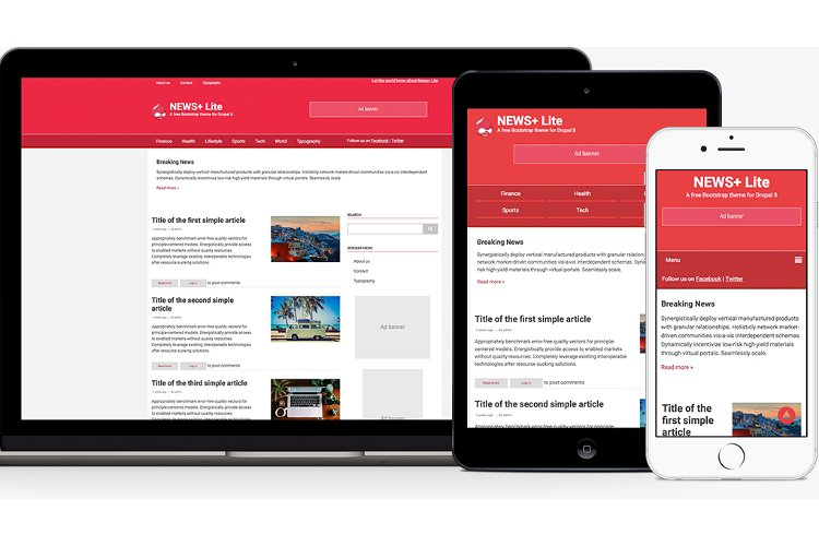 News+ Lite: A free Drupal 8 theme to power your news/portal site