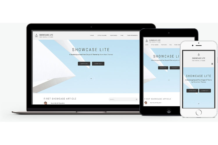 Showcase Lite:  A free Bootstrap-based Drupal 8 theme